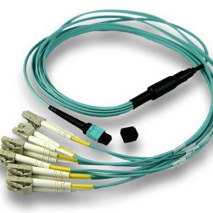 Plenum Rated, Multi Mode OM4 (Aqua): MTP to 6 Duplex LCs