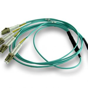 Plenum Rated, Multi Mode OM3 (Aqua): MTP to 4 Duplex LCs