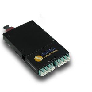 40-100Gig Cassette Module, 8-Fiber (4) Duplex OM4, Aqua LC Adapters to MTP Pinned